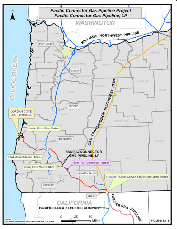 Pacific Connector Gas Pipeline Route (FEIS 1-6, Figure 1-1)