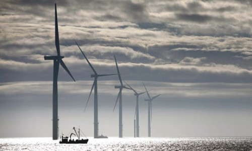 This offshore wind farm became operational in late 2008 off the coast of Lincolnshire, England. This Lynn and Inner Dowsing wind farm generates power for 130,000 homes. [Photo source: http://ecoble.com/2009/09/08/the-worlds-most-amazing-wind-farms/]