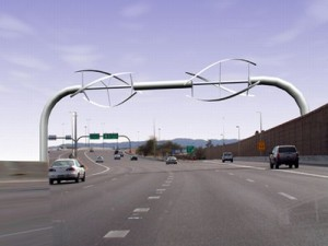 Designed by an Arizona State University student, freeway sign wind turbines like these could generate enough electricity to supply a small apartment at low wind speeds and require no additional land usage.