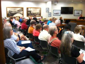North Bend Planning Commission Hearing on Jordan Cove Worker Camp permit July 20, 2015, was standing room only.