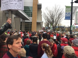 Citizens rally in Medford on 3-23-2017. Photo by Allen